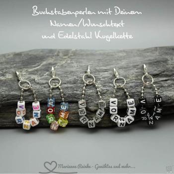 Buchstabenperlen mit Deinem Namen/Wunschtext und Edelstahl Kugelkette